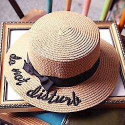 米蘭精品 草帽防曬遮陽帽-蝴蝶結字母刺繡英倫風平頂沙灘女帽子73eq41