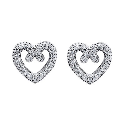 Pandora 潘朵拉 魔法心形圖紋鑲鋯純銀耳環