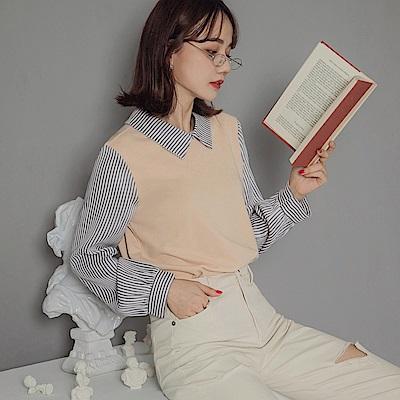 假兩件襯衫領直條紋拼接純色針織長袖上衣-OB嚴選