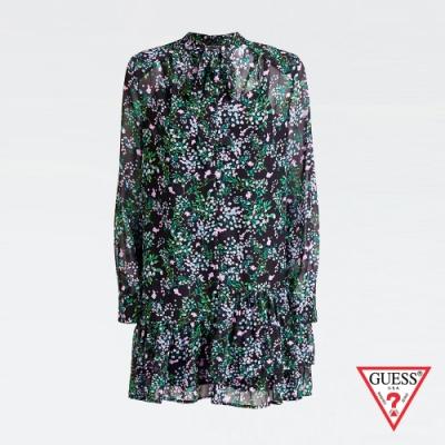 GUESS-女裝-復古碎花長袖洋裝-綠