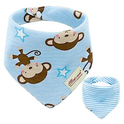 Baby unicorn 藍色小猴星星純棉雙面圍兜