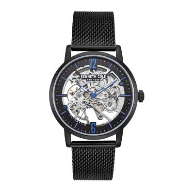 Kenneth Cole 寶藍奢華鏤空機械米蘭錶-黑X寶藍-KC50054007