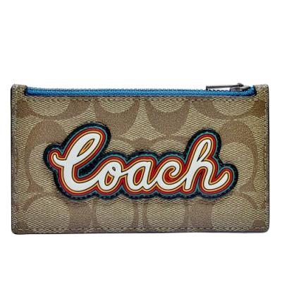 COACH  C Logo PVC 配皮革字母&卡片層拉鍊零錢包_駝色