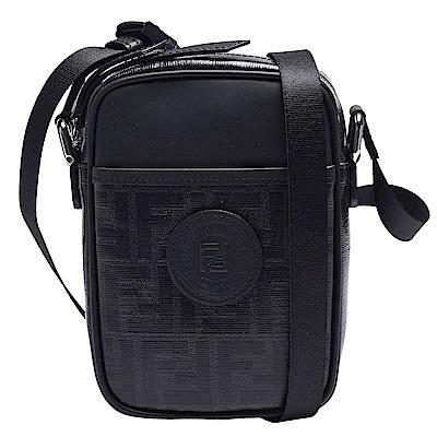 FENDI 經典品牌LOGO帆布包身牛皮飾邊拉鍊肩/斜背包(小-黑色)