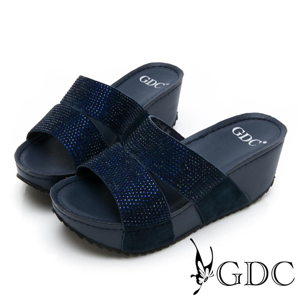GDC-萬年不敗系列真皮船型底水鑽舒適好走一字拖鞋-藍