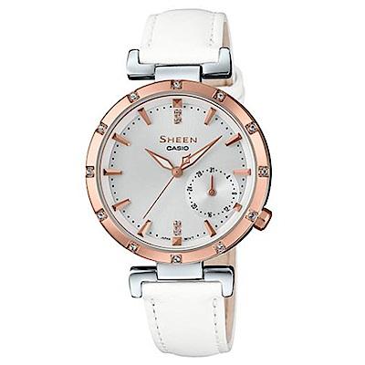 SHEEN優雅簡約耀眼施華洛世奇指針皮帶腕錶(SHE-4051PGL-7)白32mm