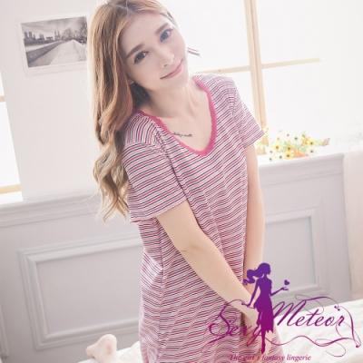 睡衣 大尺碼 棉質條紋短袖連身裙睡衣(浪漫紫粉) Sexy Meteor