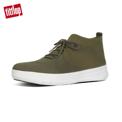 FitFlop UBERKNIT 輕量繫帶高筒休閒鞋(迷彩綠)