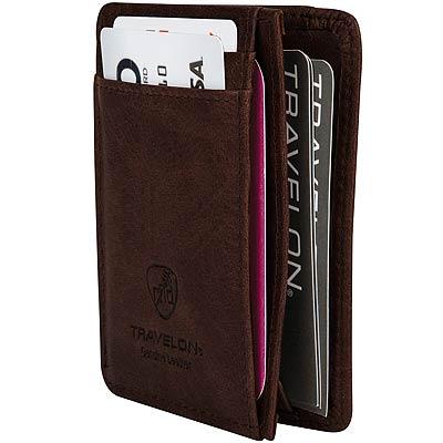 TRAVELON RFID L型證件夾(咖網紋)