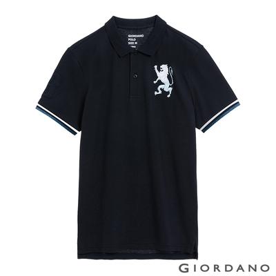 GIORDANO 男裝勝利獅王刺繡POLO衫 - 28 標誌海軍藍