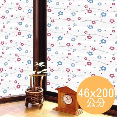 ★促銷★〔日本MEIWA〕抗UV靜電3D窗貼 (亮彩花瓣)46x200公分