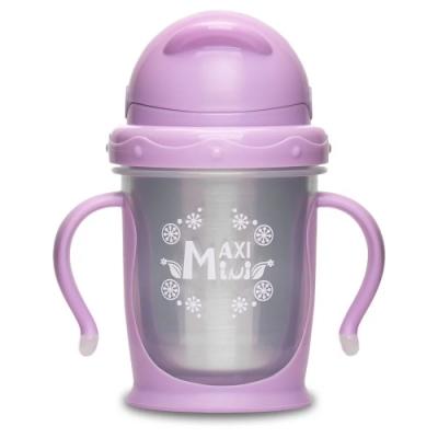 【美國MaxiMini】 嬰幼兒抗菌不鏽鋼彈跳吸管水壺/水杯(2色可選)