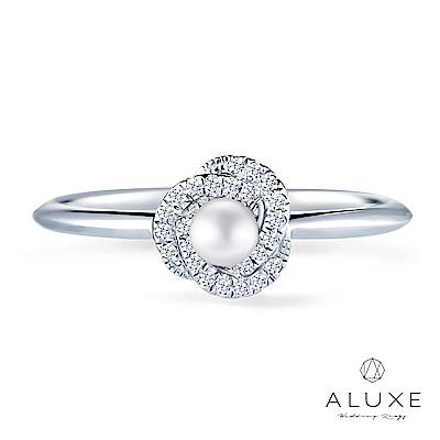 A-LUXE 亞立詩 18K金鑽石珍珠線戒