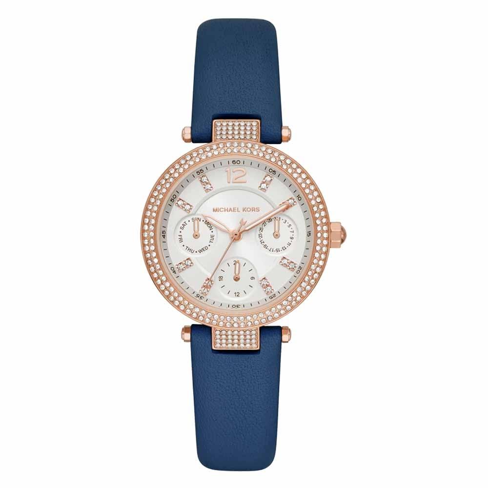 Michael Kors 華麗晶鑽三眼腕錶-藍色-MK2915-33mm
