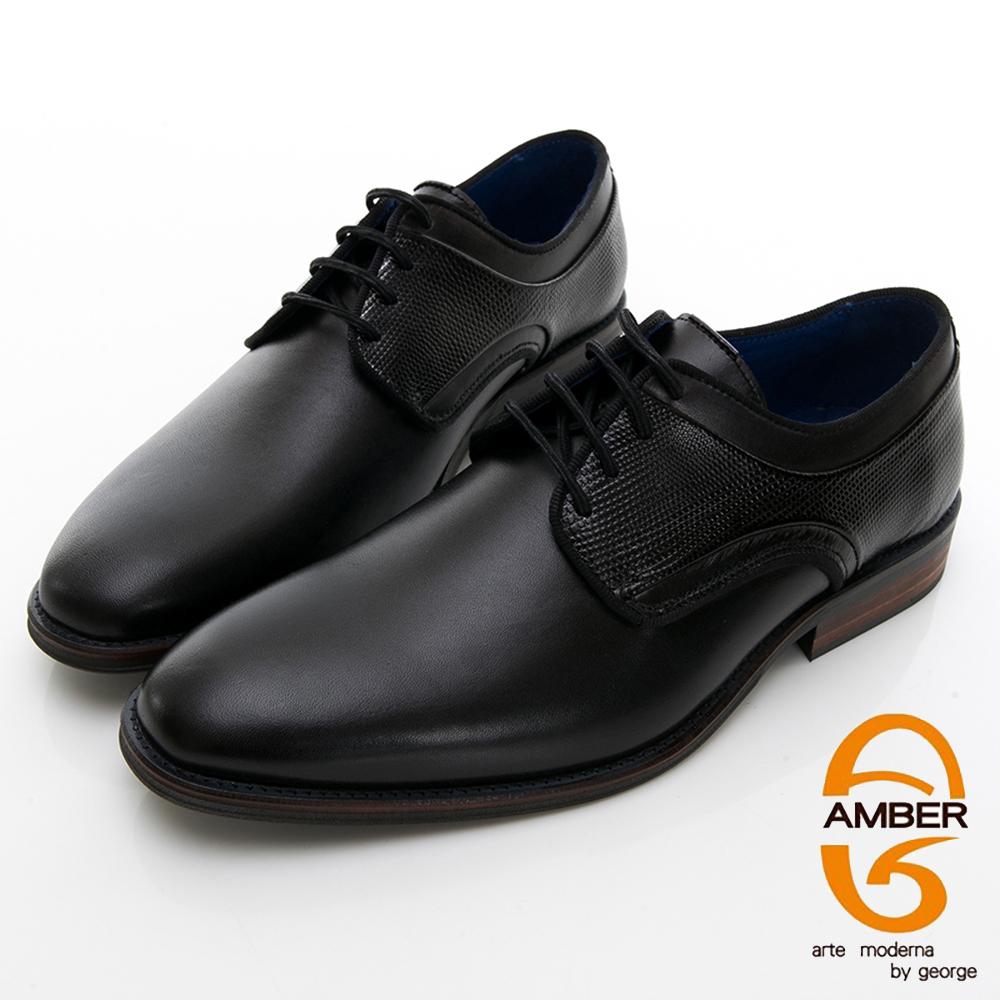 【AMBER】尊爵時尚 葡萄牙進口綁帶十字紋拼接紳士皮鞋-黑色