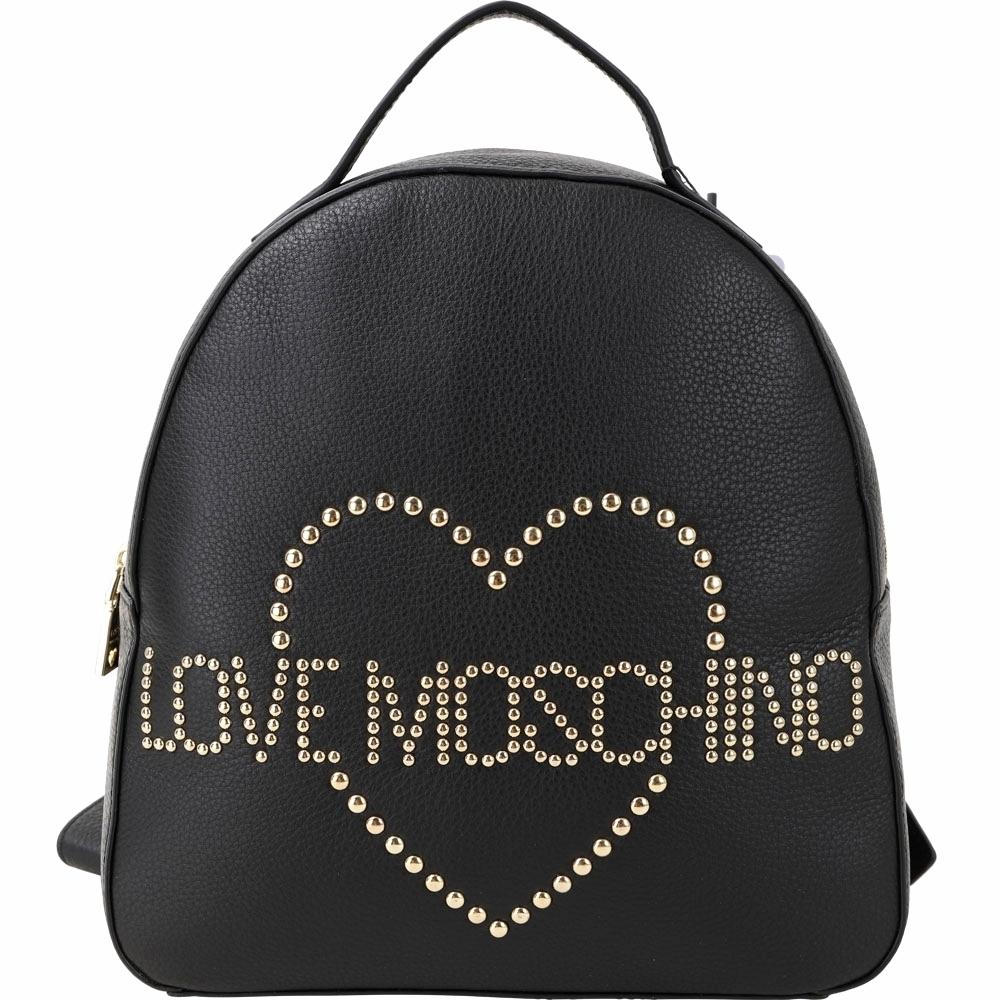 LOVE MOSCHINO 心型鉚釘牛皮後背包(黑色)