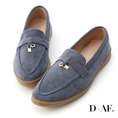 D+AF 學院典藏.迷你鎖匙絨料樂福鞋*藍