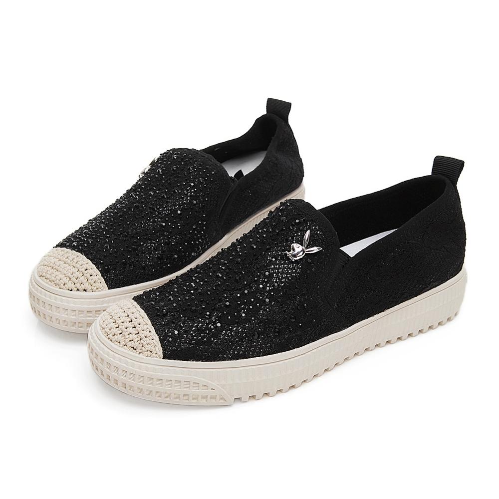 PLAYBOY 時髦風尚水鑽蕾絲休閒鞋-黑-Y5750