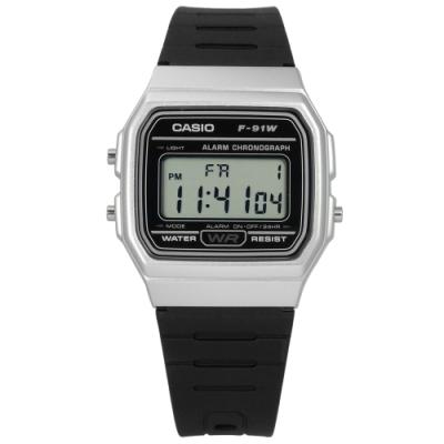 CASIO 卡西歐 方型 計時 電子手錶 銀黑x黑 F-91WM-7A 33mm