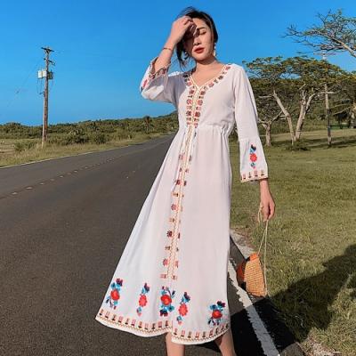 民族風刺繡顯瘦收腰長洋裝連衣裙-S~XL-維拉森林