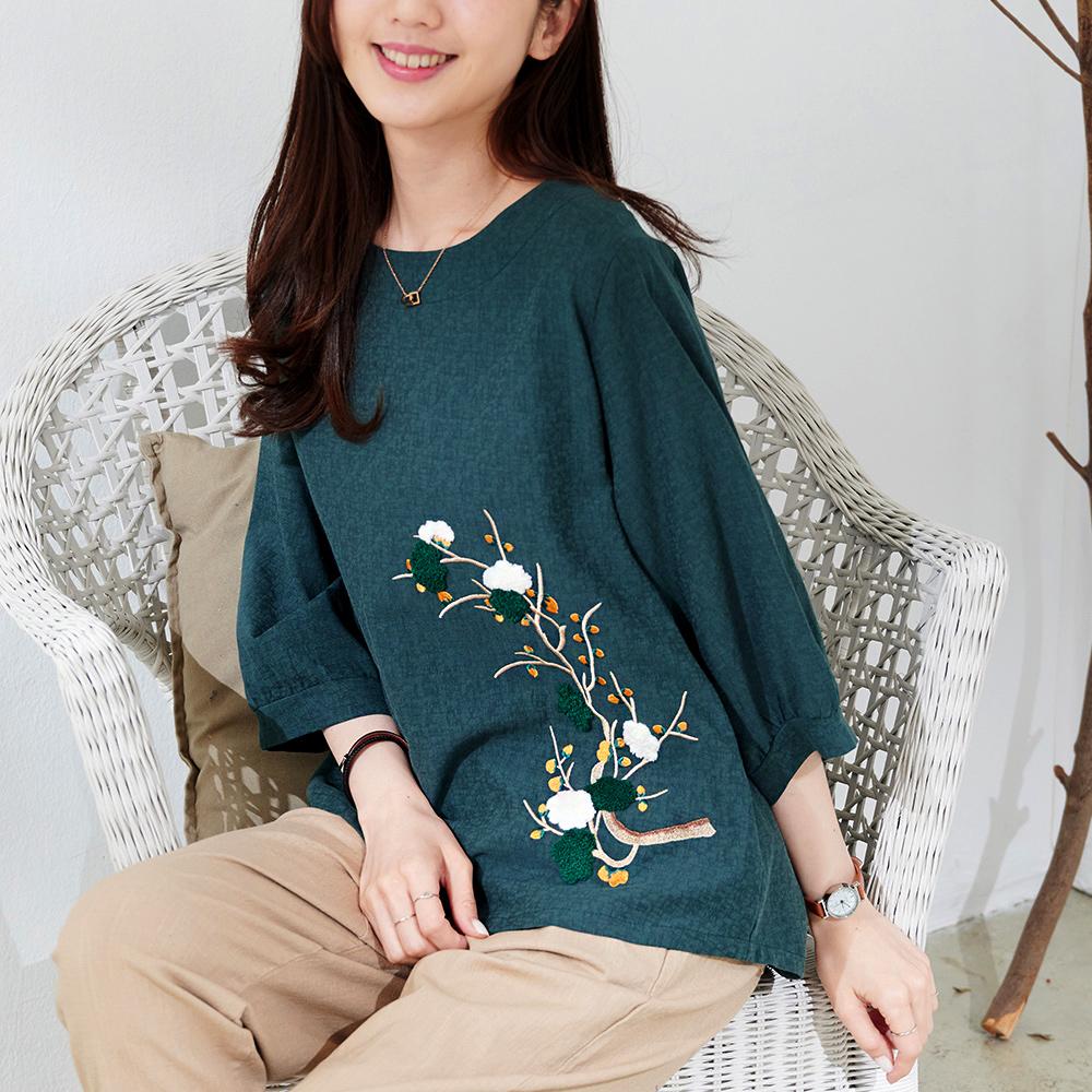 慢 生活 立體棉花刺繡寬版棉料上衣- 粉紅/濃綠/白