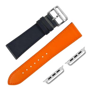Apple Watch 蘋果手錶替用錶帶 蘋果錶帶 雙色 真皮錶帶 深藍x橘