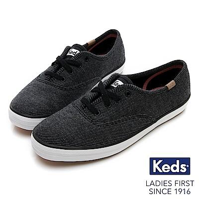 Keds CHAMPION 織紋經典綁帶休閒鞋-炭黑