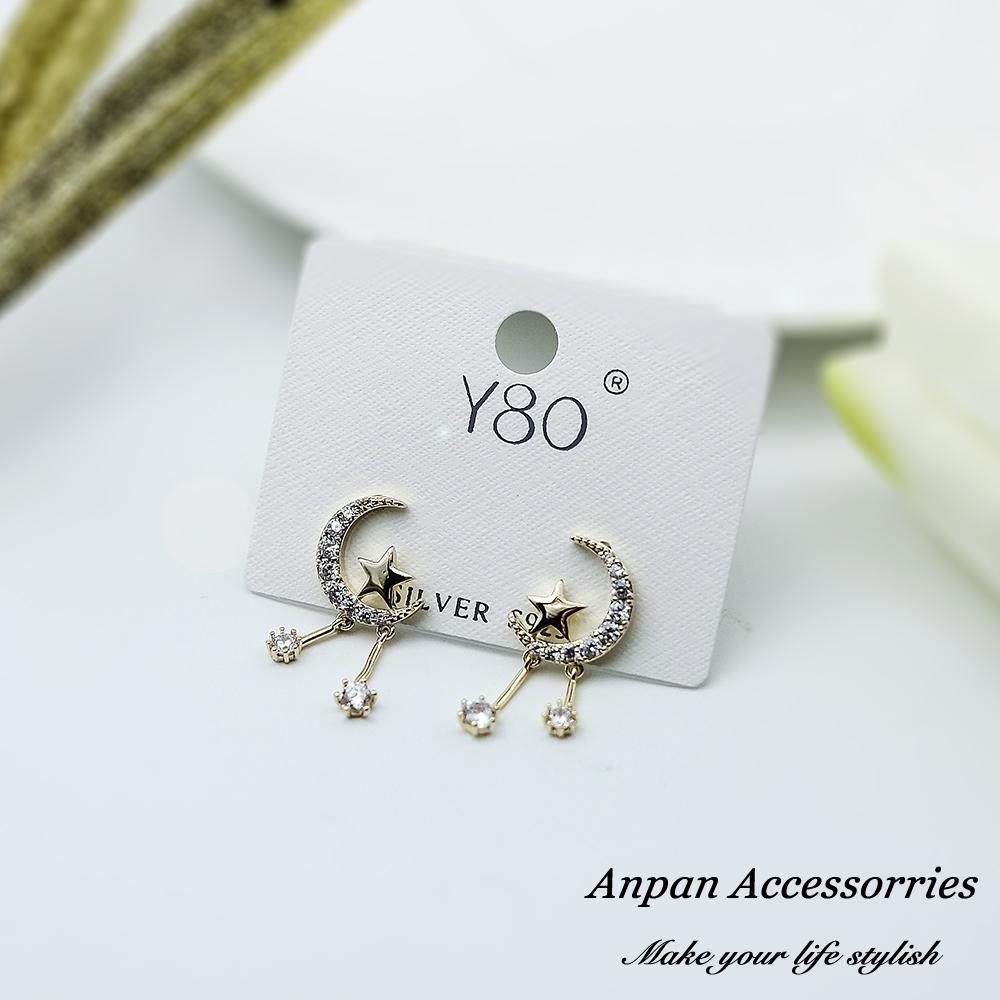 【全館6折ANPAN】925銀針韓東大門網紅款移動的月亮星球耳環