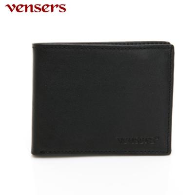 vensers 小牛皮潮流個性皮夾~(NB0154803黑色短夾)