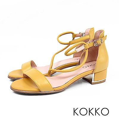 KOKKO - 東大門一字細帶真皮粗跟涼鞋 - 芒果黃