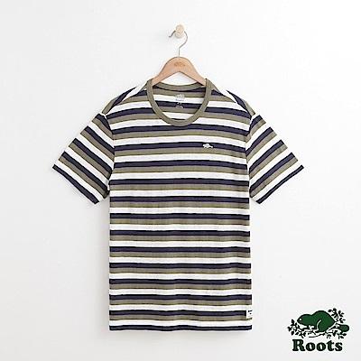 男裝Roots 條紋短袖T恤-綠