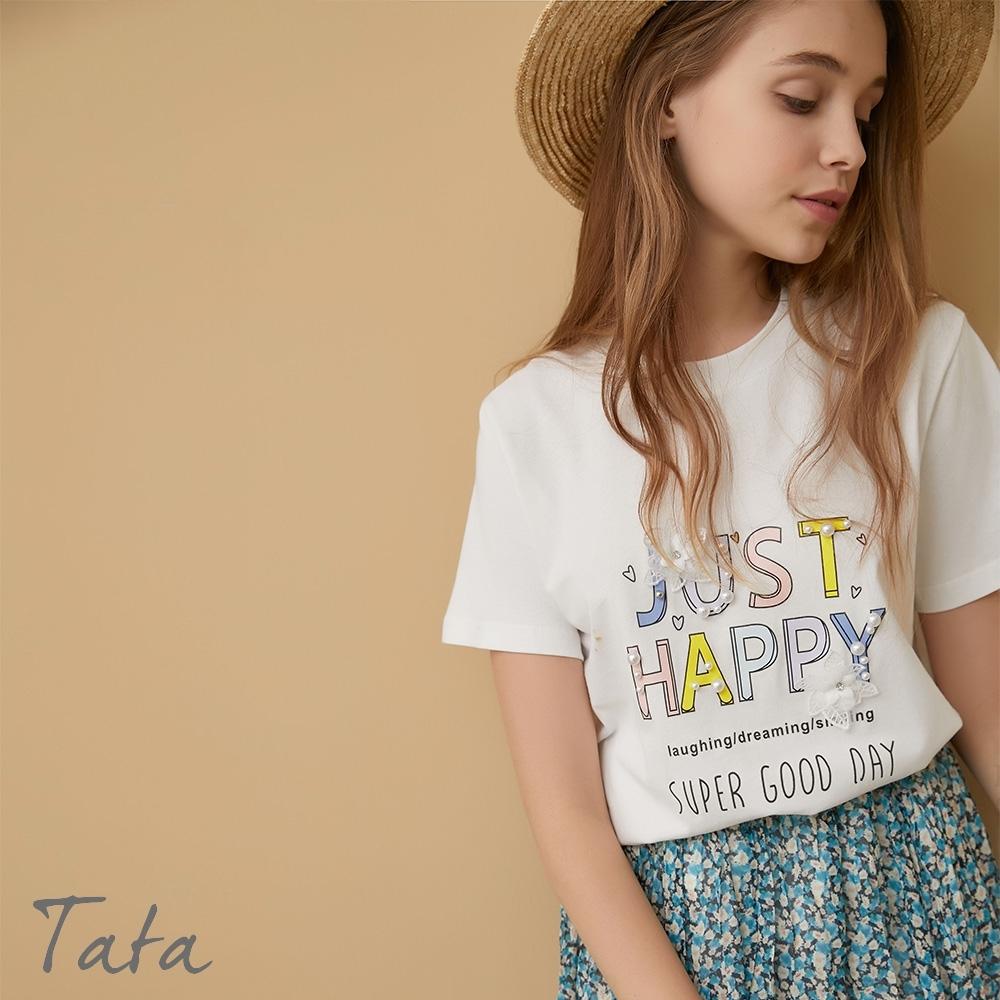 立體小花字母釘珠短T 共二色 TATA-F
