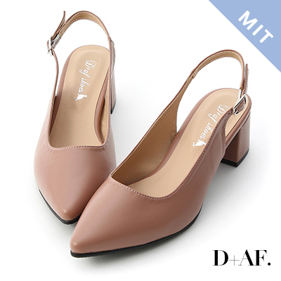 D+AF 氣質滿分.MIT素面尖頭後空中跟鞋*粉