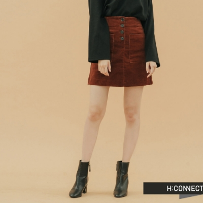 H:CONNECT 韓國品牌 女裝 - 高腰排釦雙口袋短裙  - 棕