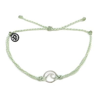 Pura Vida 美國手工 WAVE 銀色波浪墜飾 薄荷綠臘線可調式手鍊衝浪海灘防水手繩