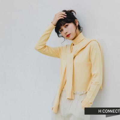 H:CONNECT 韓國品牌 女裝 -兩件式披肩高領針織上衣-黃