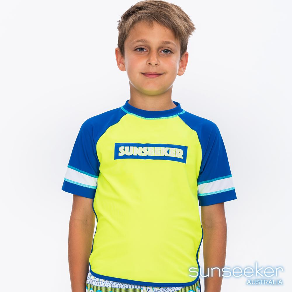 澳洲Sunseeker泳裝抗UV防曬立領長袖泳衣-大男童螢光黃