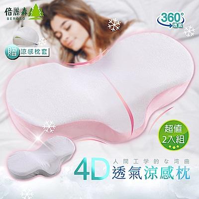 Beroso 倍麗森 超值兩入組-日系人體工學弧度4D透氣涼感回彈記憶枕