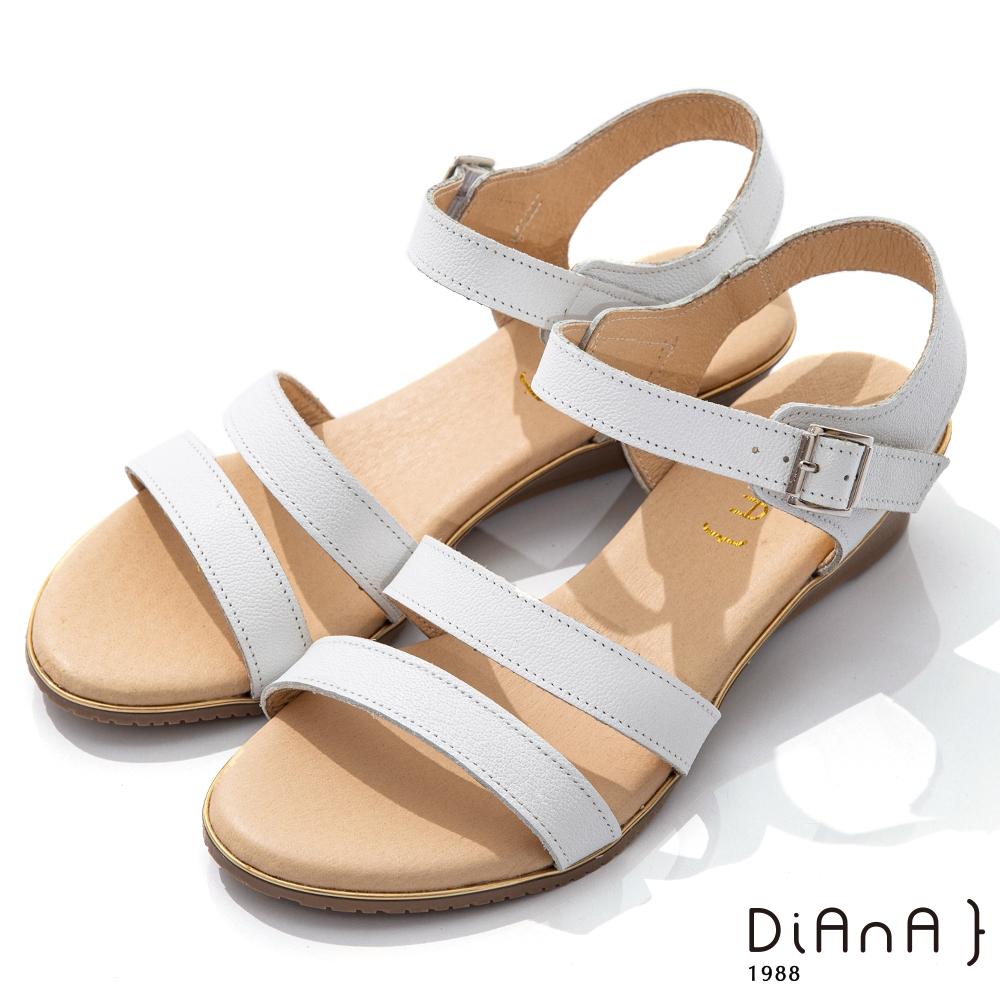 DIANA 4cm 質感牛皮環踝皮帶釦飾羅馬涼鞋-異國風情-白