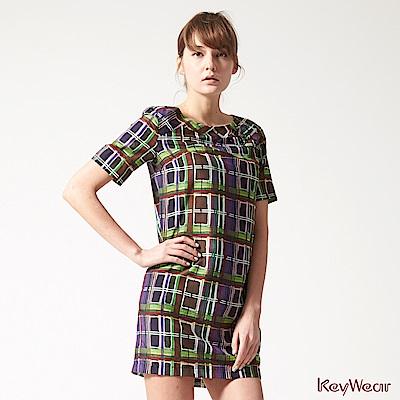 KeyWear奇威名品    藝術印花舒適絲棉短袖洋裝-綜合色