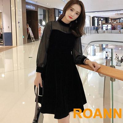 透視網紗燈籠袖拼接絲絨洋裝 (黑色)-ROANN