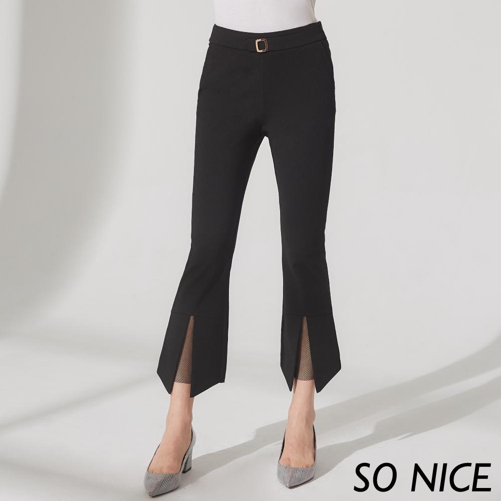 SO NICE個性開衩小喇叭羅馬布長褲 @ Y!購物