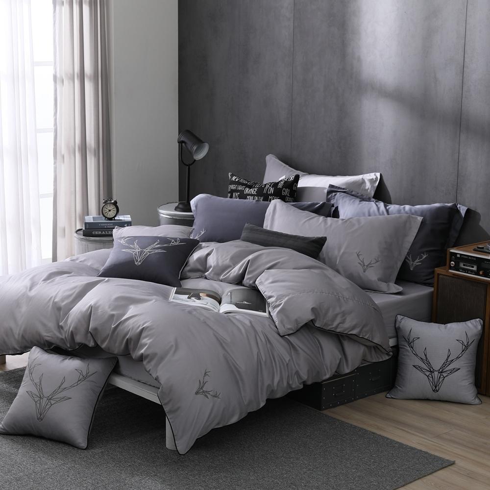 OLIVIA  Saul 淺灰 標準雙人床包兩用被套四件組 300織匹馬棉系列 台灣製