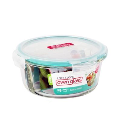樂扣樂扣 蒂芬妮藍分隔耐熱玻璃保鮮盒圓形900ML(快)