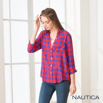 Nautica女裝經典雙色格紋長袖襯衫 -紅藍格