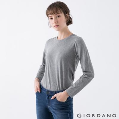 GIORDANO  女裝素色圓領長袖T恤 - <b>12</b> 花灰