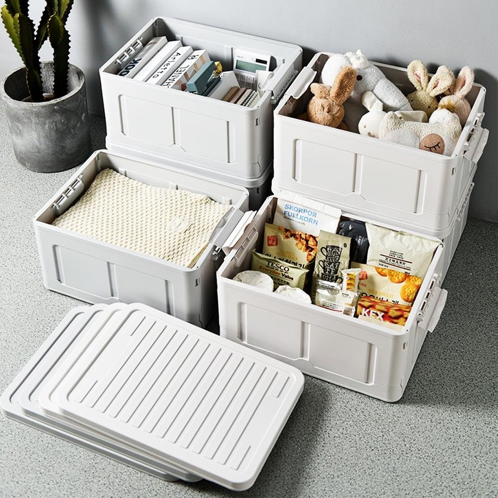木暉-日式無印風大容量附蓋折疊收納箱