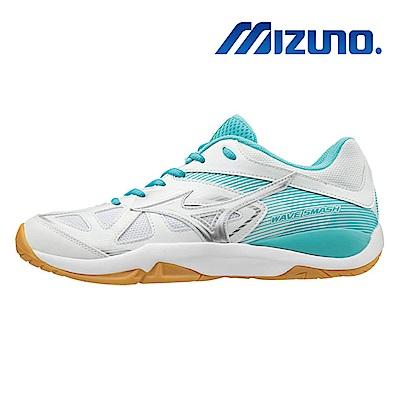 美津濃 WAVE SMASH 5 男女羽球鞋 白綠 71GA196024