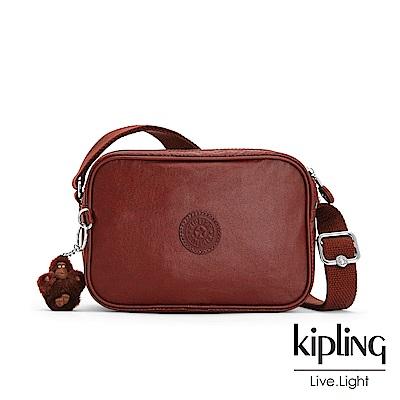 Kipling 雅緻紅褐素面側背方包-DEE