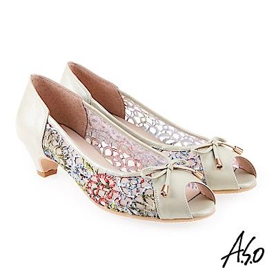 A.S.O 炫麗魅惑  全真皮蕾絲網紗魚口楔型鞋淺綠